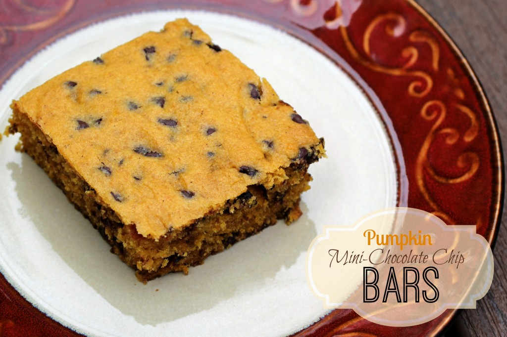 Pumpkin Mini-Chocolate Chip Bars | Five Wooden Spoons